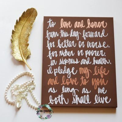 home decor wedding vow art sign