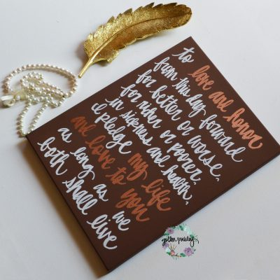 wedding vows on canvas gift for bronze anniversary