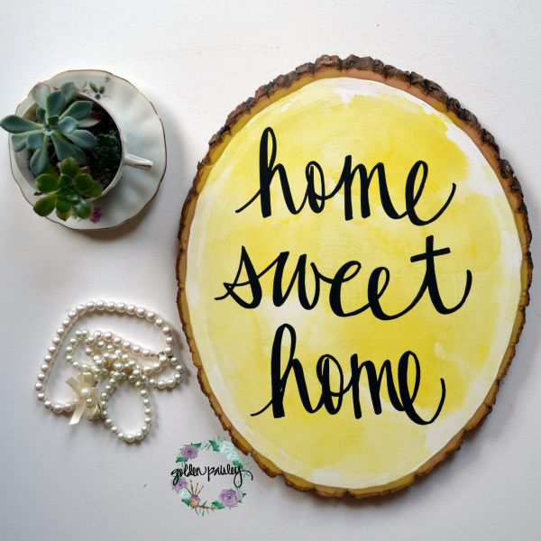 yellow home decor home sweet home art