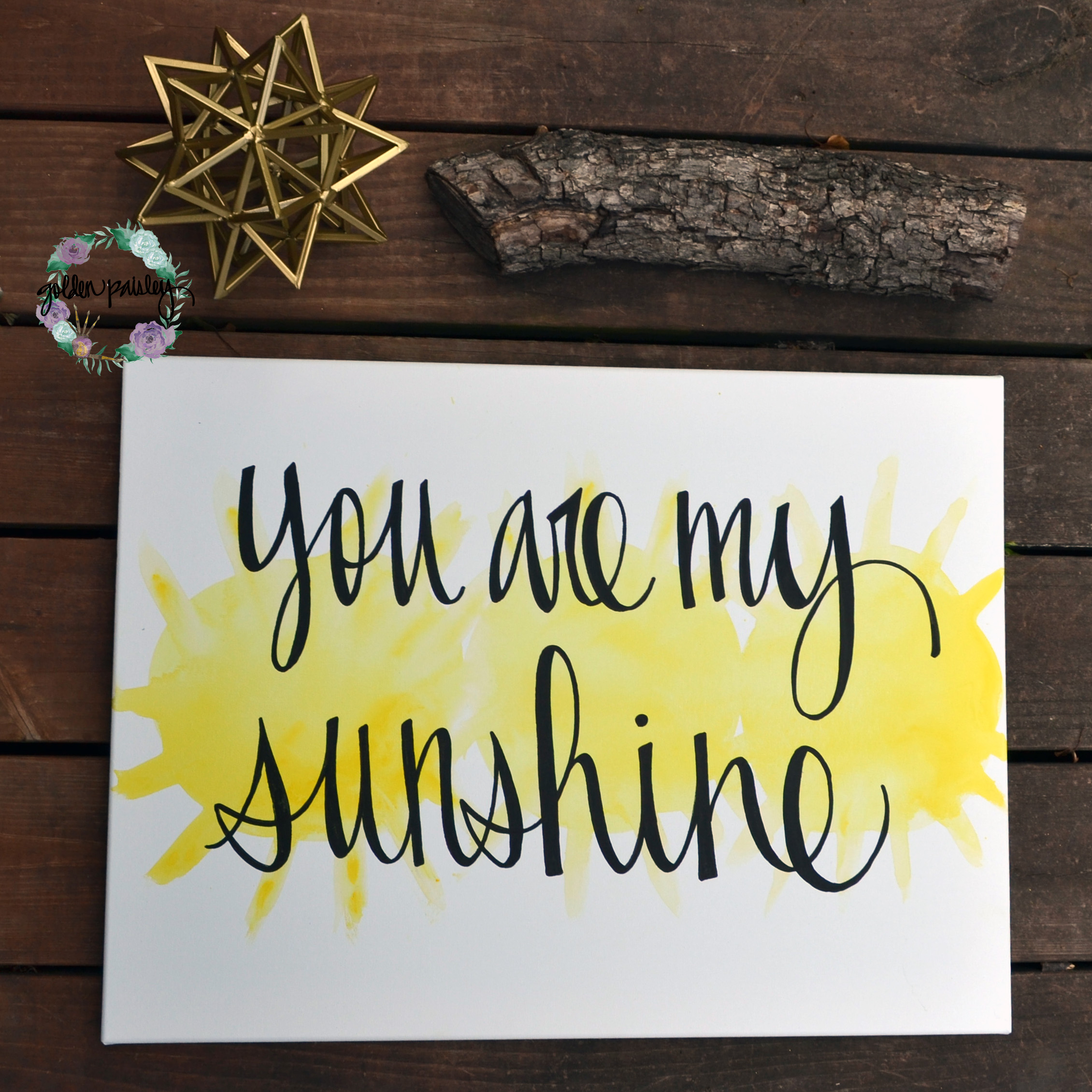 "You Are My Sunshine"" Yellow Watercolor Art"