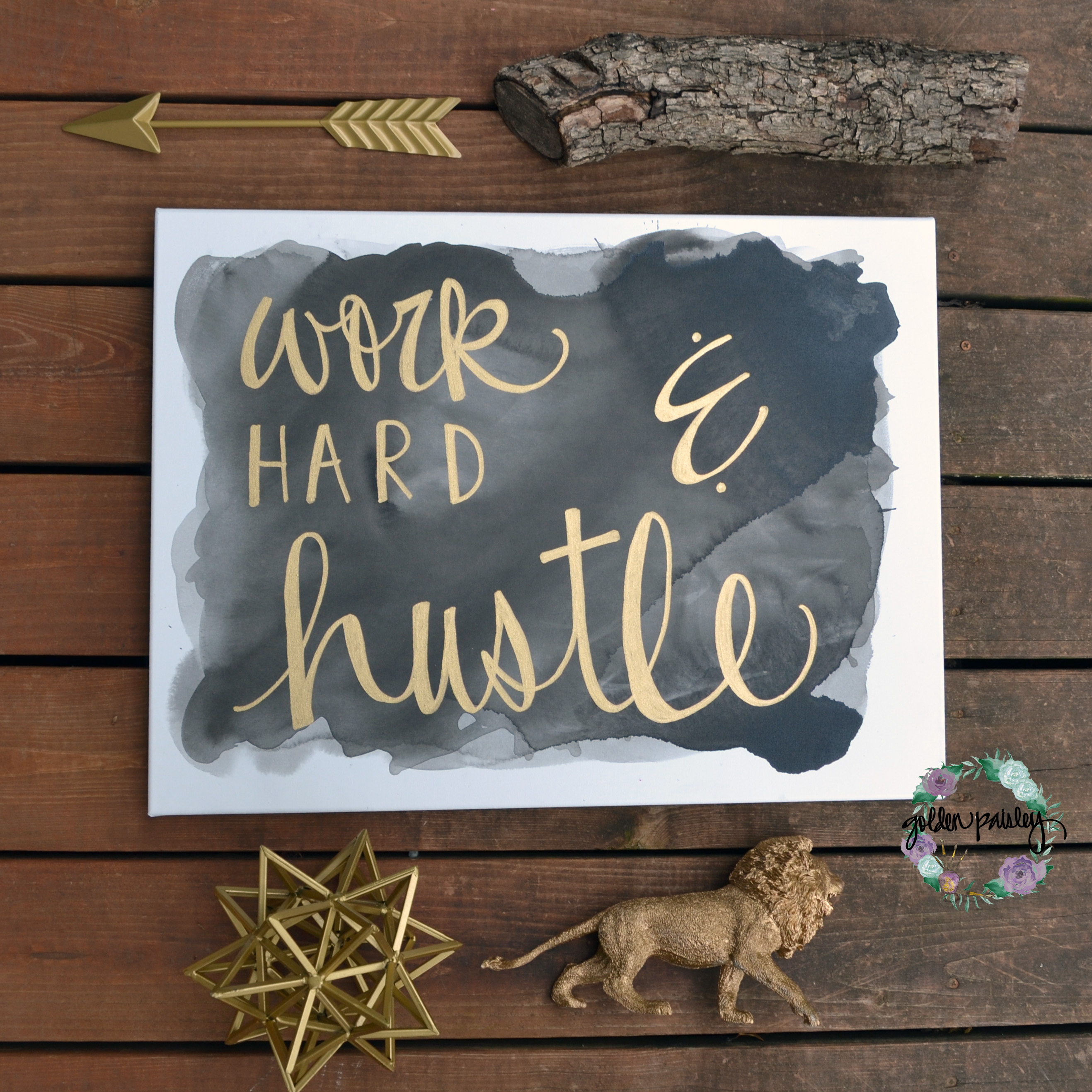 black and gold work hard and hustle canvas art home office decor black and gold wall art