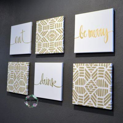 gold home decor eat drink be merry canvases