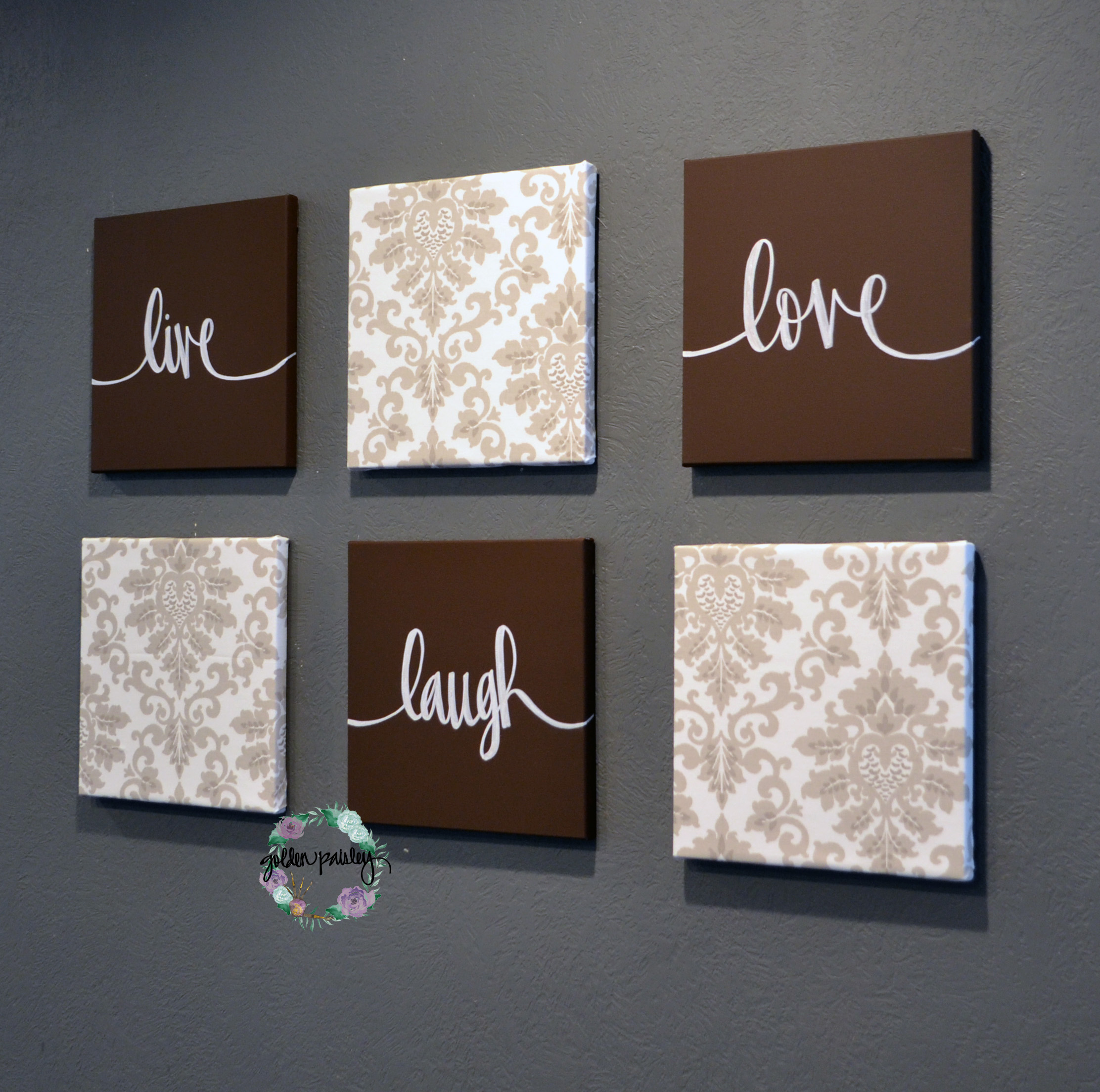 Live Laugh Love Canvas Wall Art Set Painting Eat Drink Be Merry Home Decor