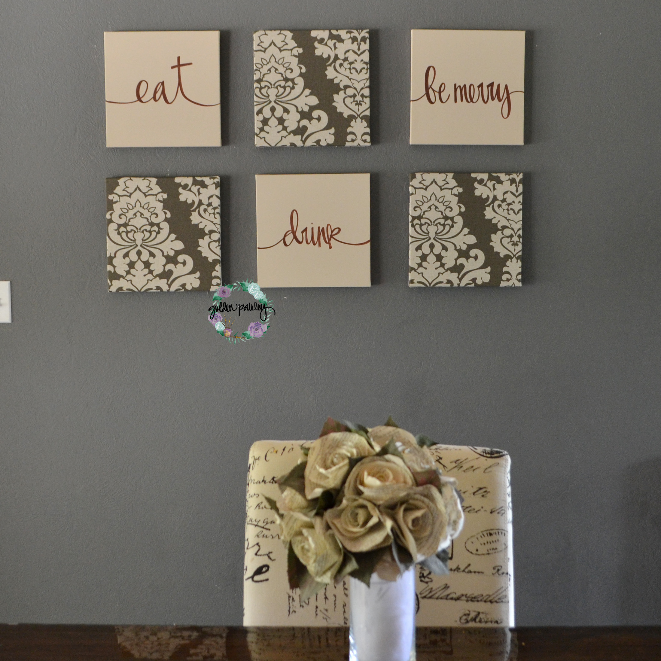 Brown and beige damask eat drink be merry set for Damask wall mural