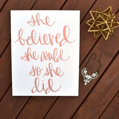 rose gold canvas wall art she believed she could