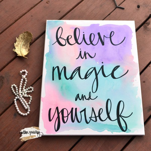 unicorn quote canvas wall art pastel painting