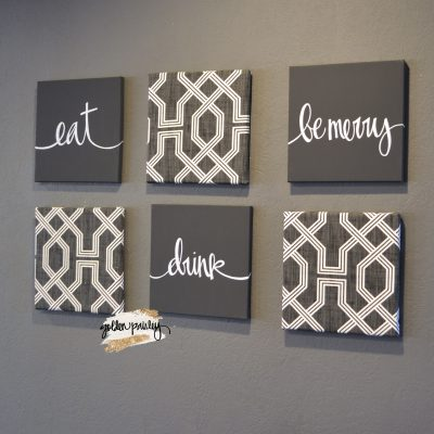 charcoal eat drink be merry wall art set