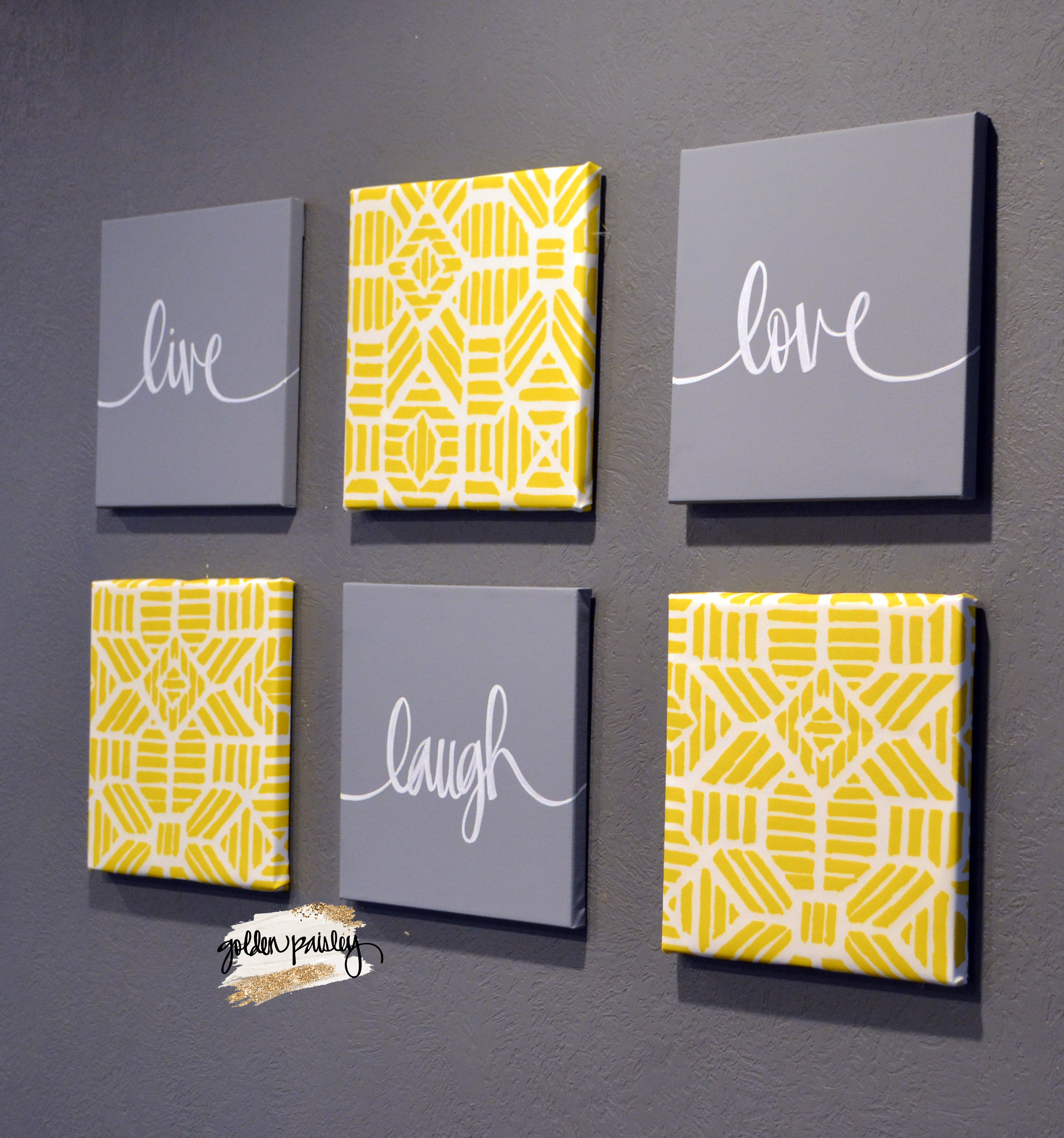 Yellow gray wall art set