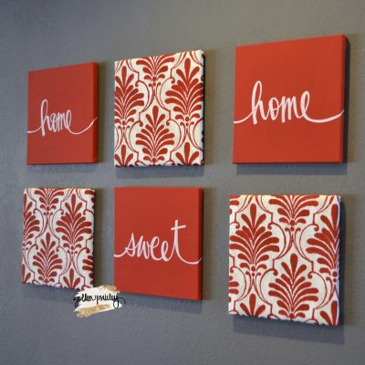red home decor wall art set