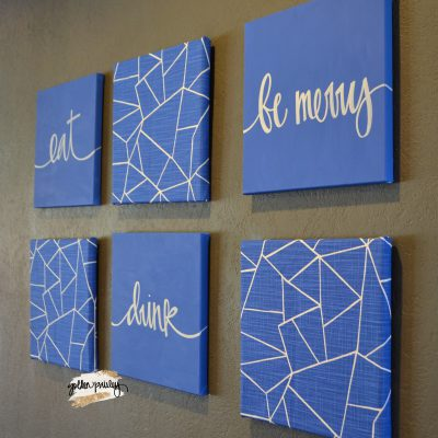 blue geometric wall art