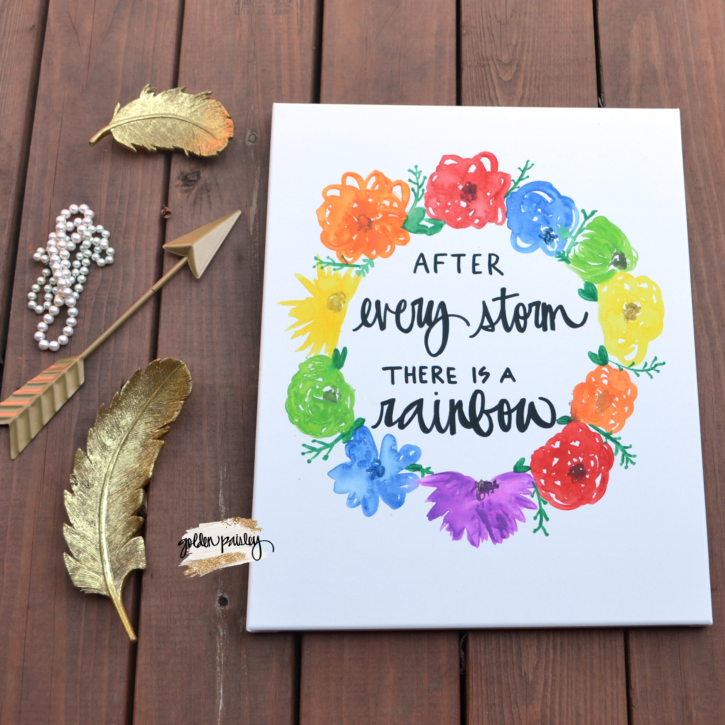 Rainbow Floral Watercolor Quote Art