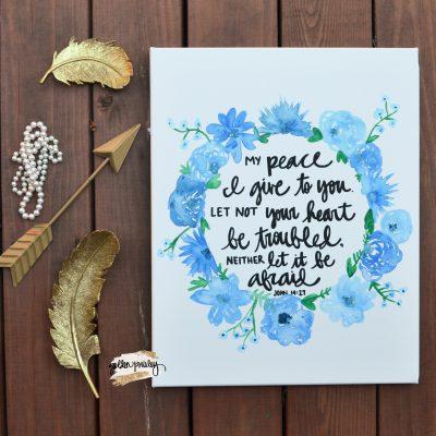 blue floral watercolor bible verse art