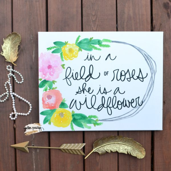 floral wreath nursery art sign