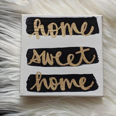 home sweet home mini hand lettered canvas art