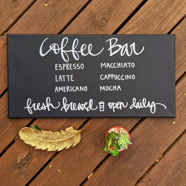 Coffee Bar Hand Lettered Wall Art Sign | 12 x 24 inch Chalkboard-Style Canvas Wall Art Sign | Gift for Coffee Lover Kitchen Dining Room Art
